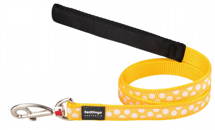 Red Dingo Polka Dot Dog lead Yellow and white spot
